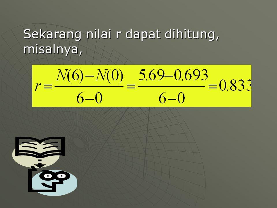 Sekarang nilai r dapat dihitung, misalnya,