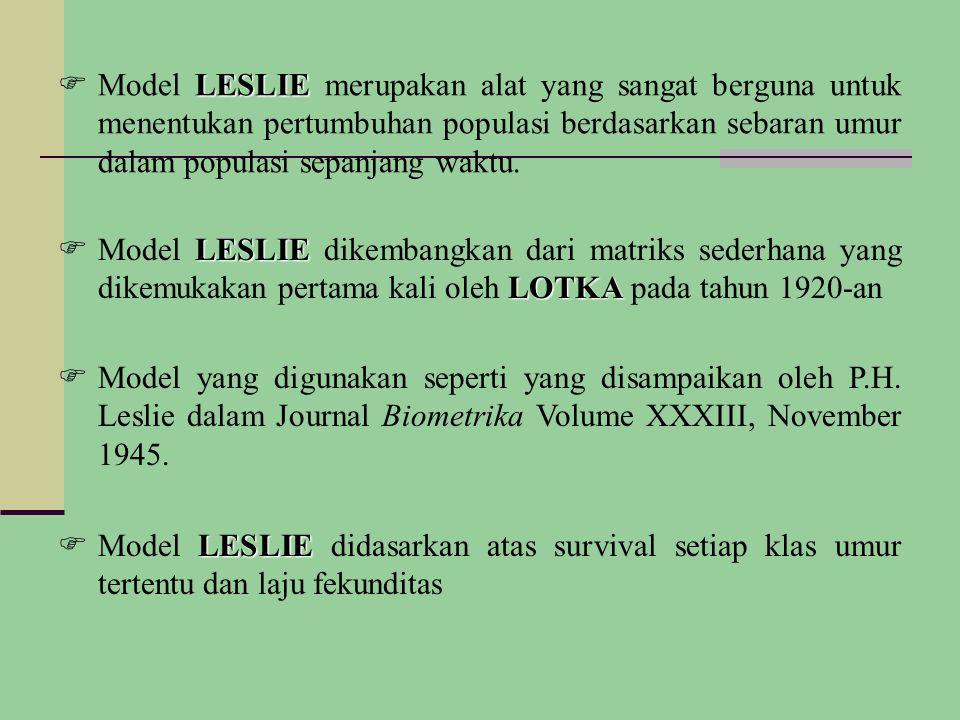 Model LESLIE merupakan alat yang sangat berguna untuk menentukan pertumbuhan populasi berdasarkan sebaran umur dalam populasi sepanjang waktu.