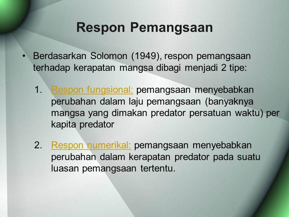 Respon Pemangsaan Berdasarkan Solomon (1949), respon pemangsaan terhadap kerapatan mangsa dibagi menjadi 2 tipe:
