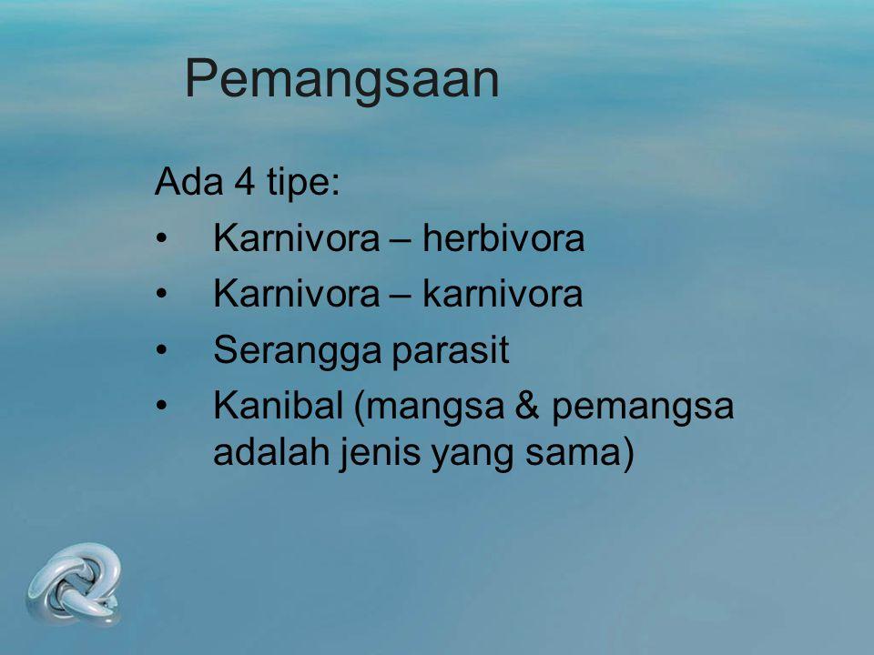Pemangsaan Ada 4 tipe: Karnivora – herbivora Karnivora – karnivora