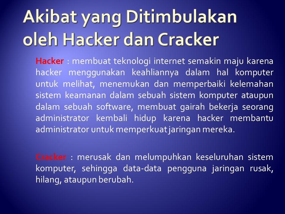 Akibat yang Ditimbulakan oleh Hacker dan Cracker