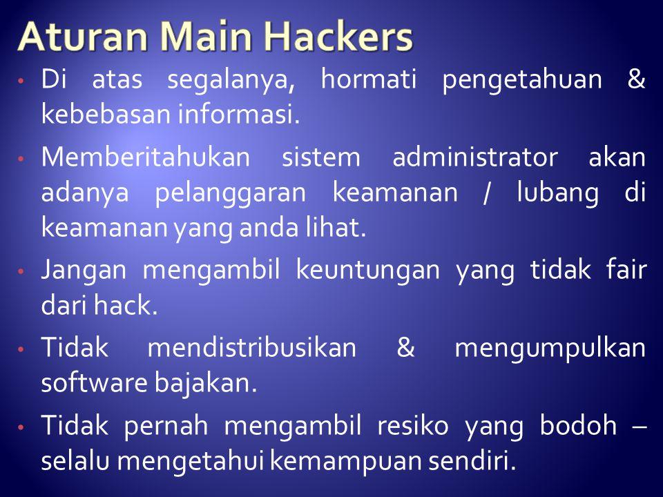 Aturan Main Hackers Di atas segalanya, hormati pengetahuan & kebebasan informasi.