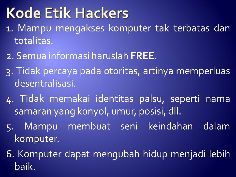 Kode Etik Hackers 1. Mampu mengakses komputer tak terbatas dan totalitas. 2. Semua informasi haruslah FREE.