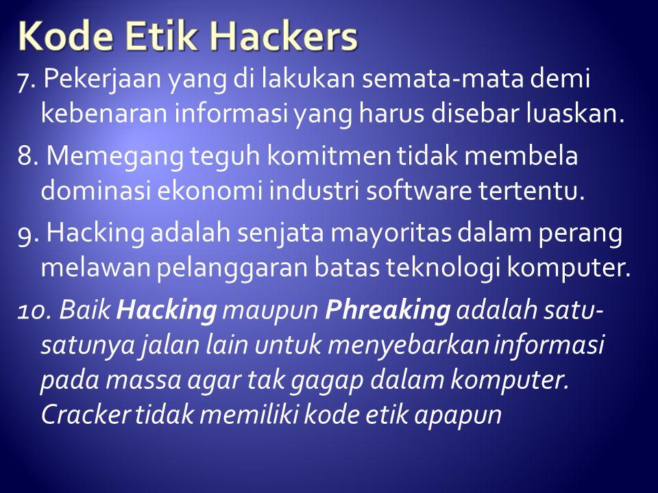 Kode Etik Hackers 7. Pekerjaan yang di lakukan semata-mata demi kebenaran informasi yang harus disebar luaskan.