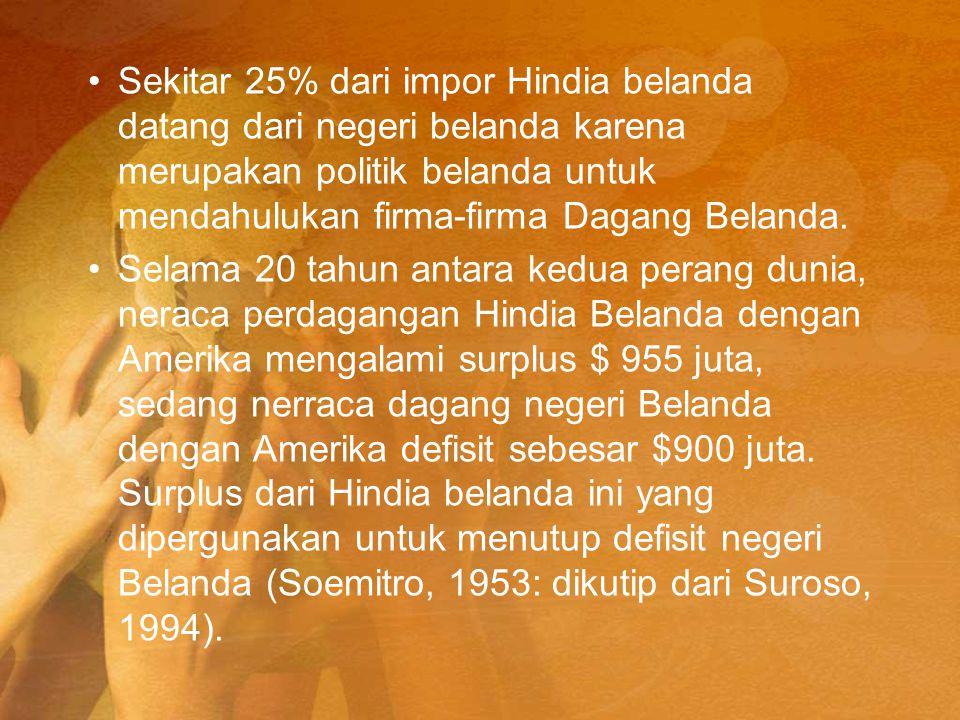 Sekitar 25% dari impor Hindia belanda datang dari negeri belanda karena merupakan politik belanda untuk mendahulukan firma-firma Dagang Belanda.