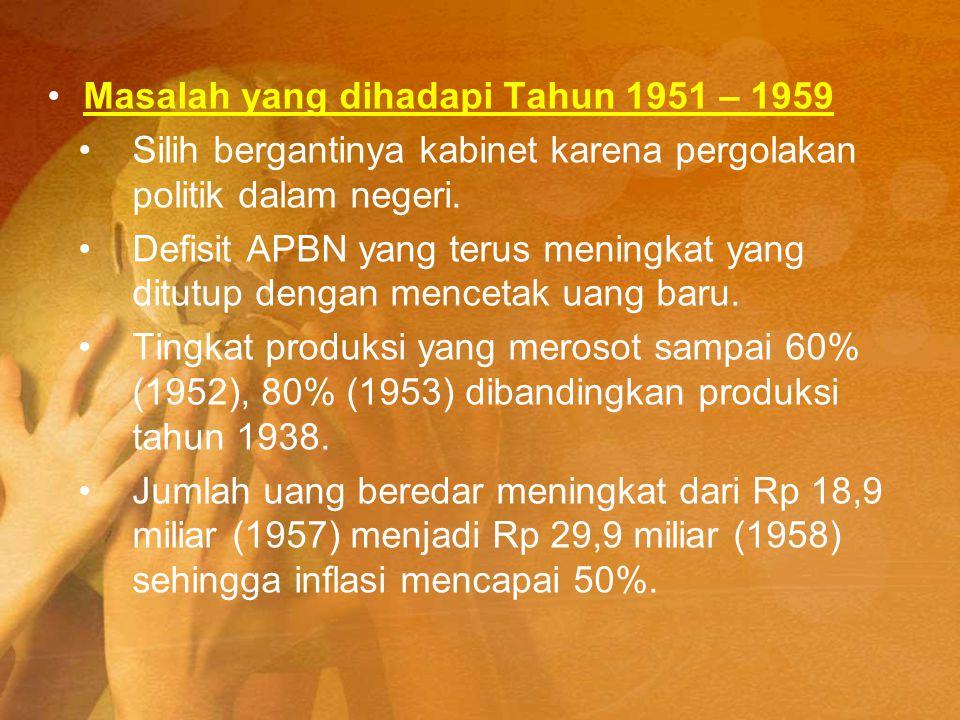 Masalah yang dihadapi Tahun 1951 – 1959