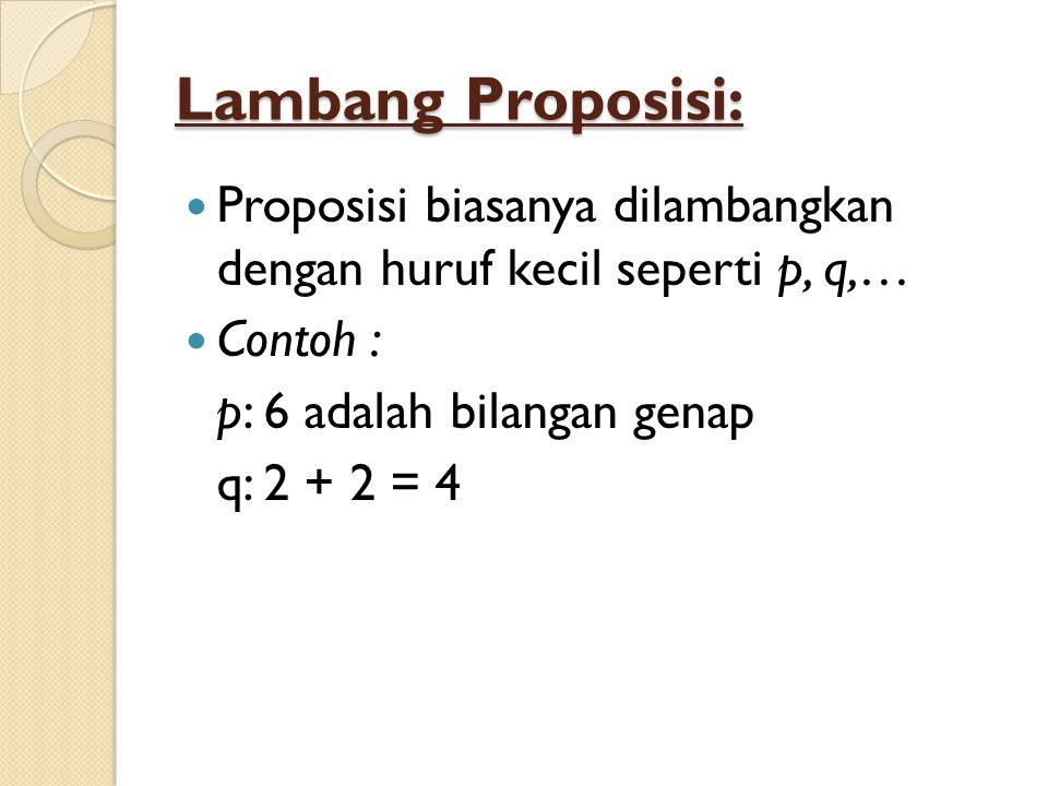 Lambang Proposisi: Proposisi biasanya dilambangkan dengan huruf kecil seperti p, q,… Contoh : p: 6 adalah bilangan genap.