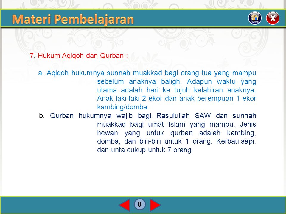 Materi Pembelajaran 7. Hukum Aqiqoh dan Qurban :