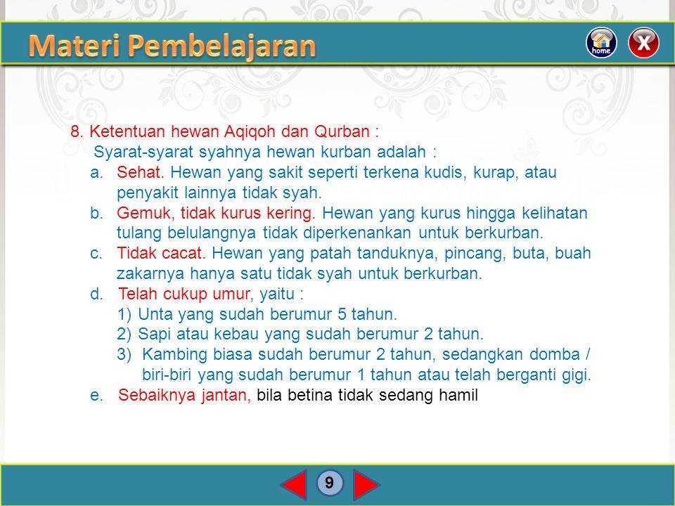 Materi Pembelajaran 8. Ketentuan hewan Aqiqoh dan Qurban :