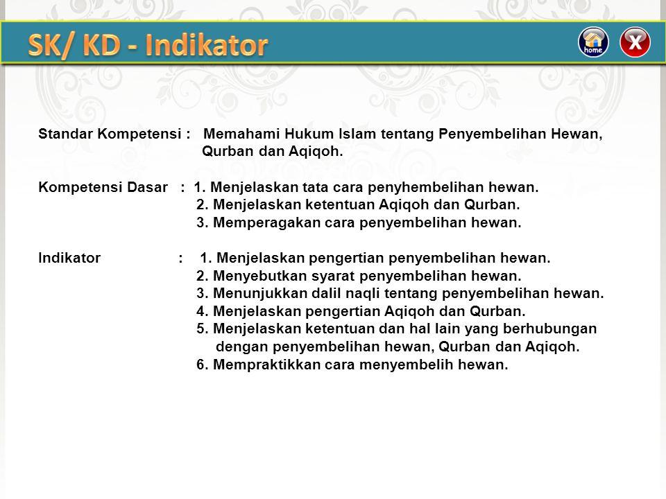 SK/ KD - Indikator Standar Kompetensi : Memahami Hukum Islam tentang Penyembelihan Hewan, Qurban dan Aqiqoh.