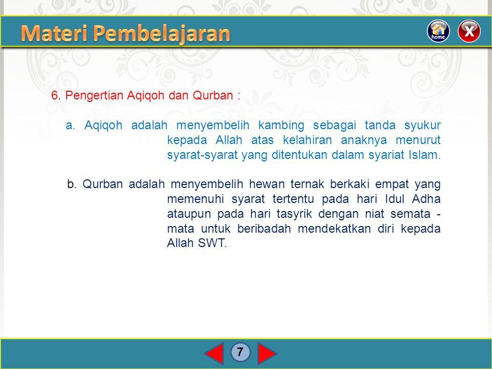 Materi Pembelajaran 6. Pengertian Aqiqoh dan Qurban :