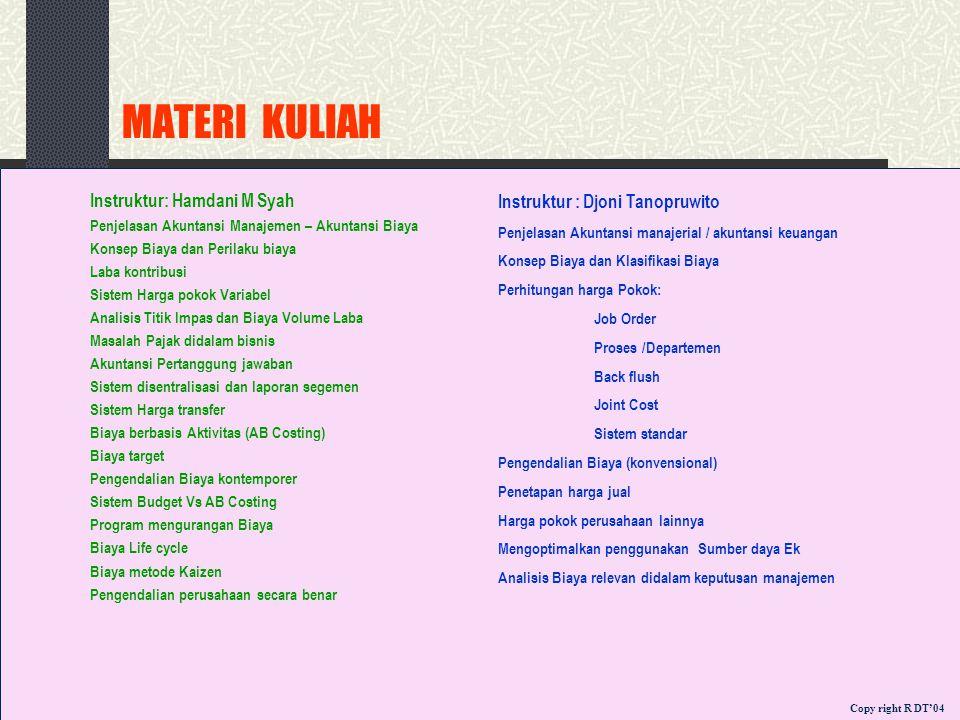 MATERI KULIAH Instruktur: Hamdani M Syah