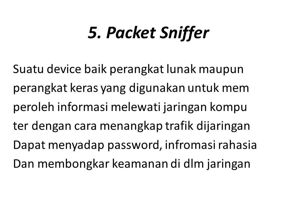 5. Packet Sniffer Suatu device baik perangkat lunak maupun