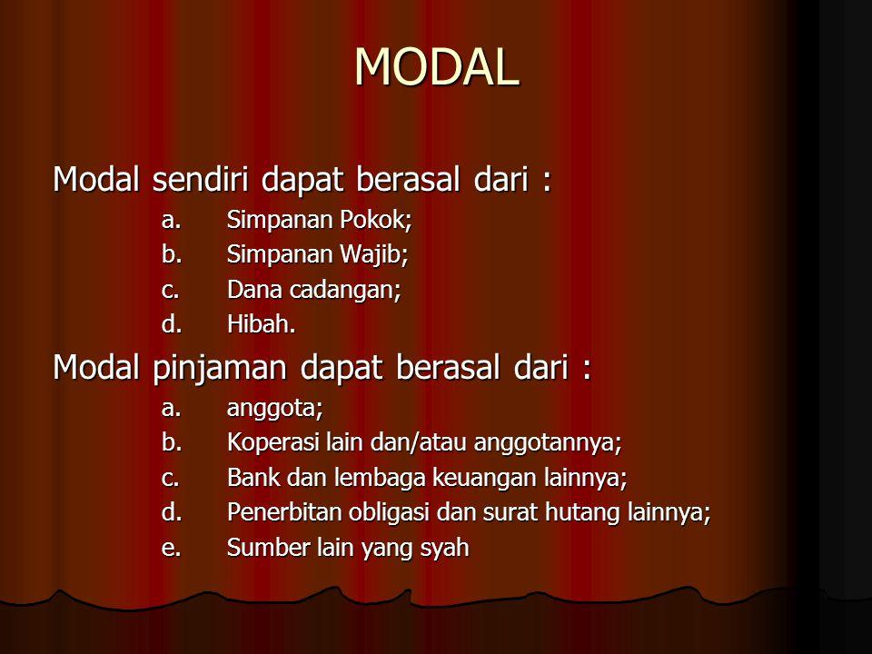 MODAL Modal sendiri dapat berasal dari :