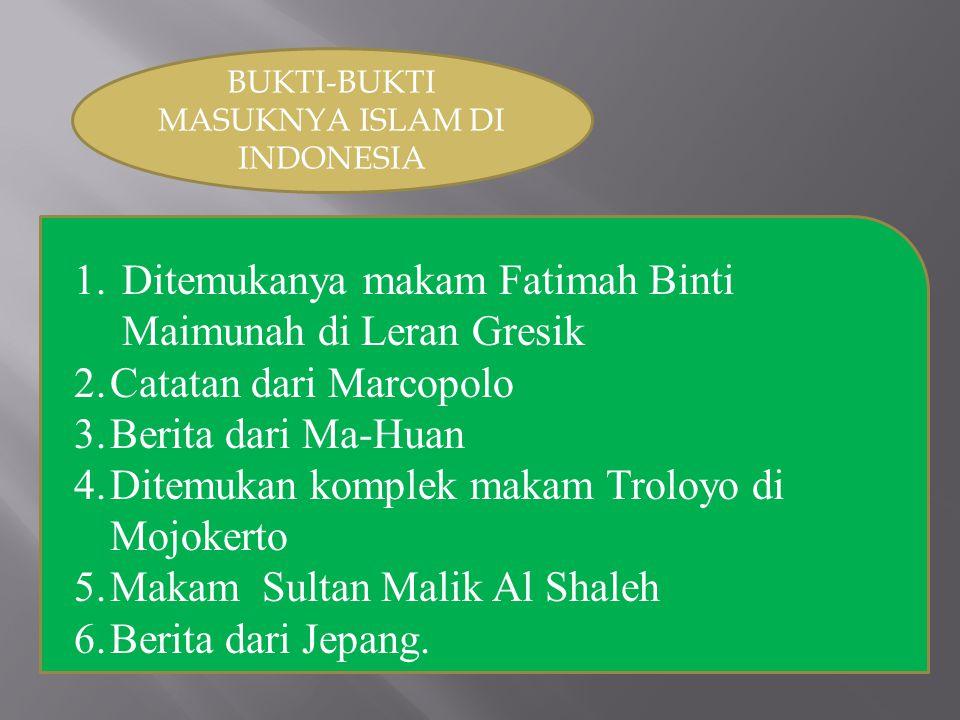 BUKTI-BUKTI MASUKNYA ISLAM DI INDONESIA
