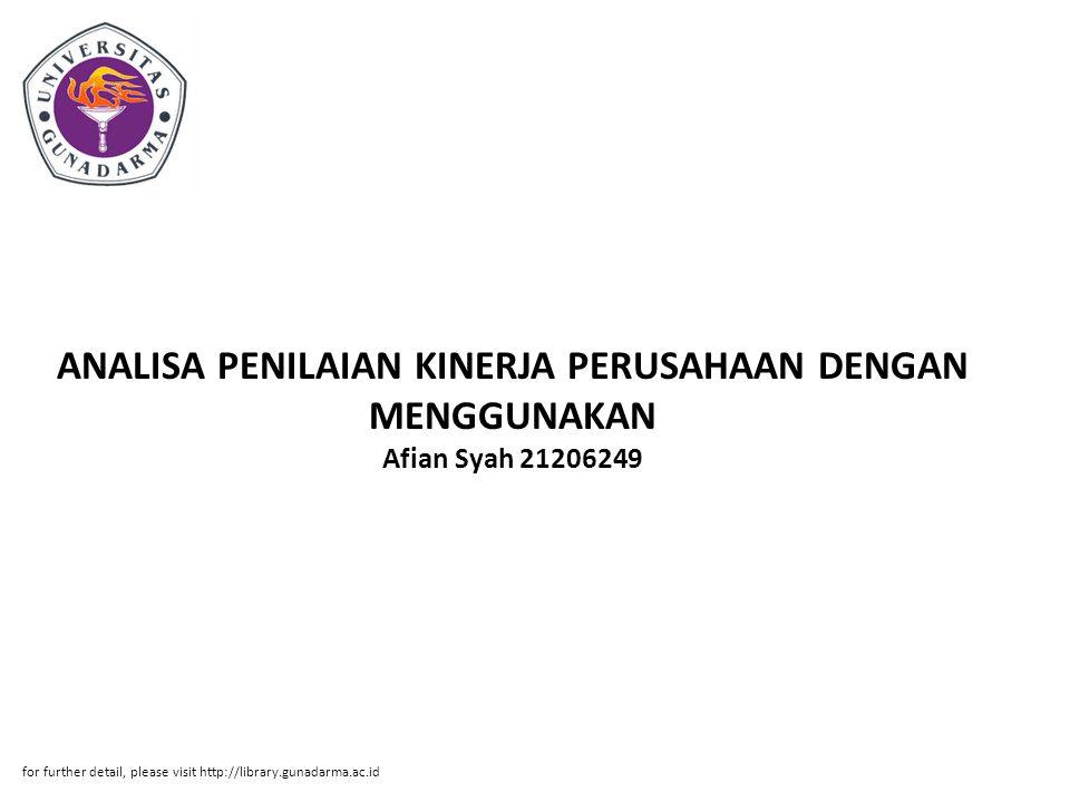 ANALISA PENILAIAN KINERJA PERUSAHAAN DENGAN MENGGUNAKAN Afian Syah 21206249