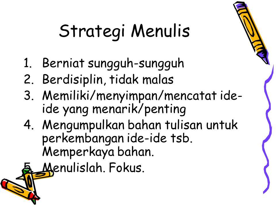 Strategi Menulis Berniat sungguh-sungguh Berdisiplin, tidak malas