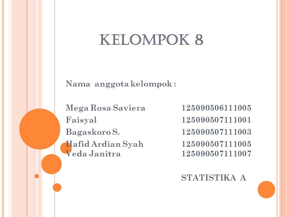 KELOMPOK 8 Nama anggota kelompok : Mega Rosa Saviera 125090506111005