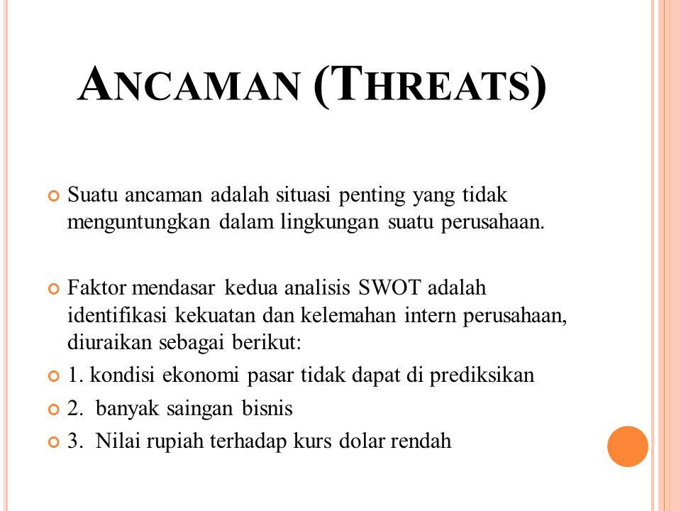 Ancaman (Threats) Suatu ancaman adalah situasi penting yang tidak menguntungkan dalam lingkungan suatu perusahaan.