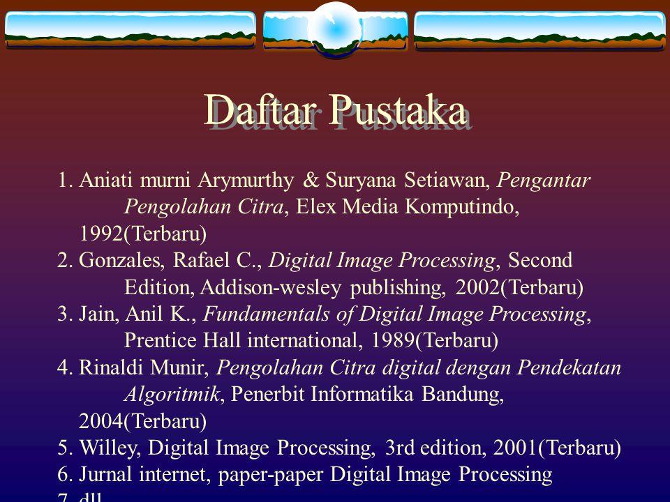 Daftar Pustaka Aniati murni Arymurthy & Suryana Setiawan, Pengantar Pengolahan Citra, Elex Media Komputindo, 1992(Terbaru)