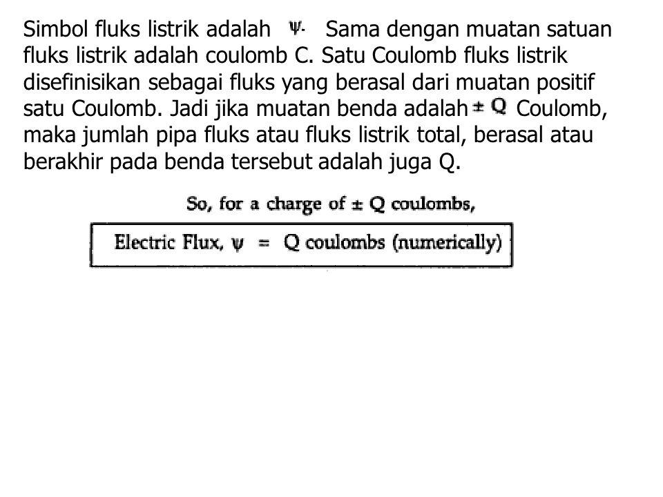 Simbol fluks listrik adalah Sama dengan muatan satuan fluks listrik adalah coulomb C.