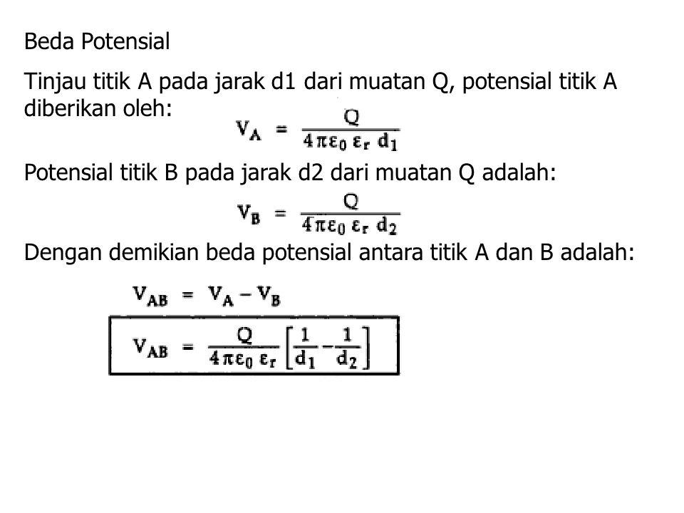 Beda Potensial Tinjau titik A pada jarak d1 dari muatan Q, potensial titik A diberikan oleh: Potensial titik B pada jarak d2 dari muatan Q adalah: