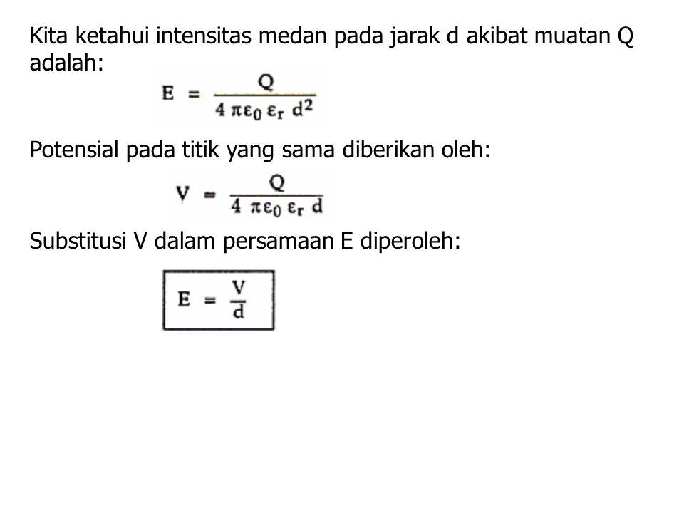 Kita ketahui intensitas medan pada jarak d akibat muatan Q adalah: