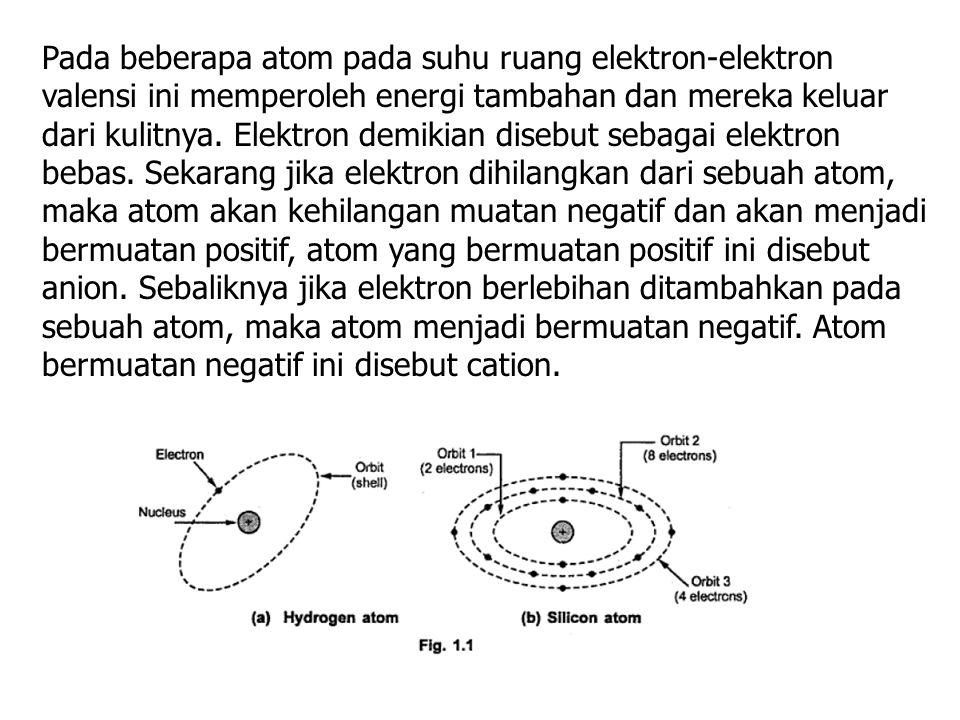 Pada beberapa atom pada suhu ruang elektron-elektron valensi ini memperoleh energi tambahan dan mereka keluar dari kulitnya.