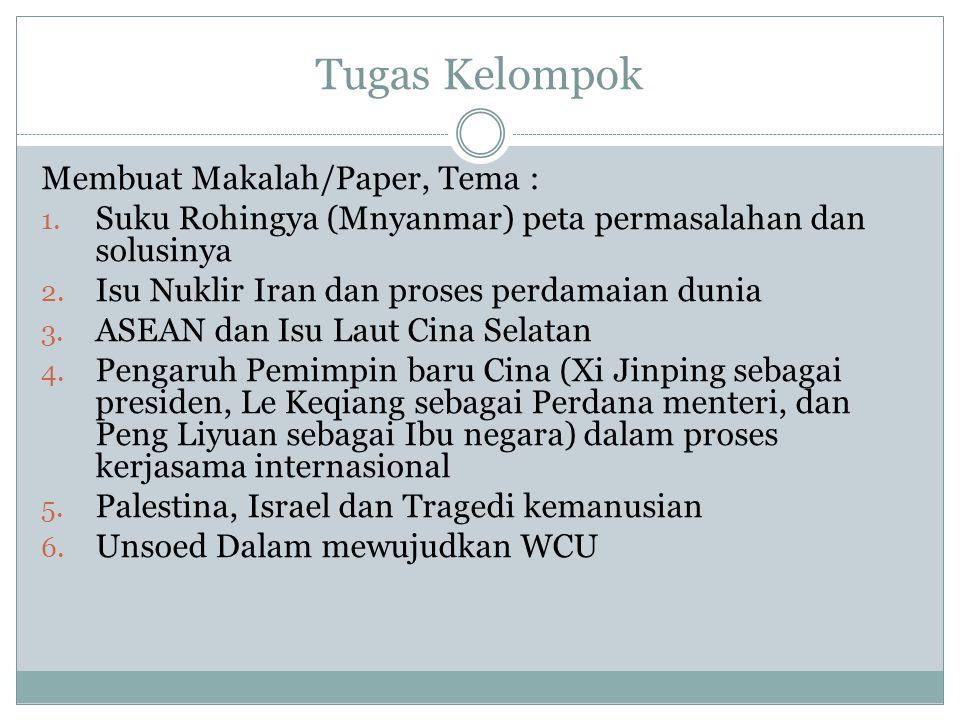 Tugas Kelompok Membuat Makalah/Paper, Tema :