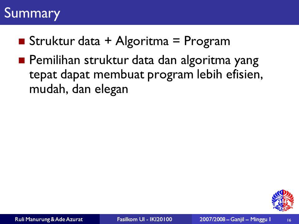 Summary Struktur data + Algoritma = Program