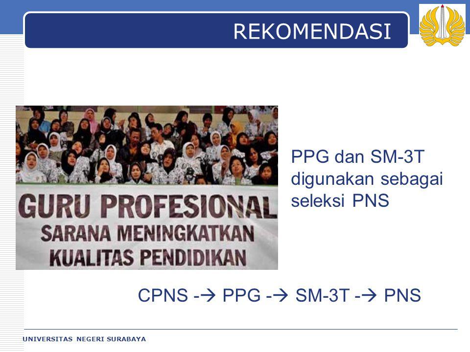 REKOMENDASI PPG dan SM-3T digunakan sebagai seleksi PNS