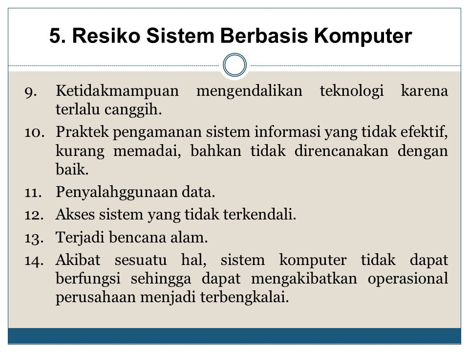 5. Resiko Sistem Berbasis Komputer