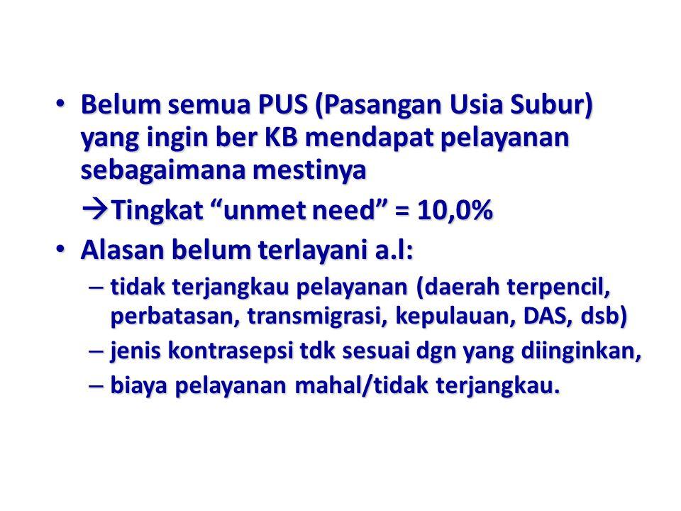 Tingkat unmet need = 10,0% Alasan belum terlayani a.l: