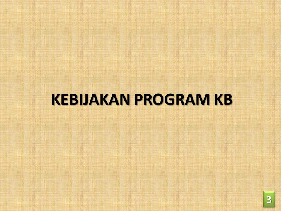 KEBIJAKAN PROGRAM KB 3