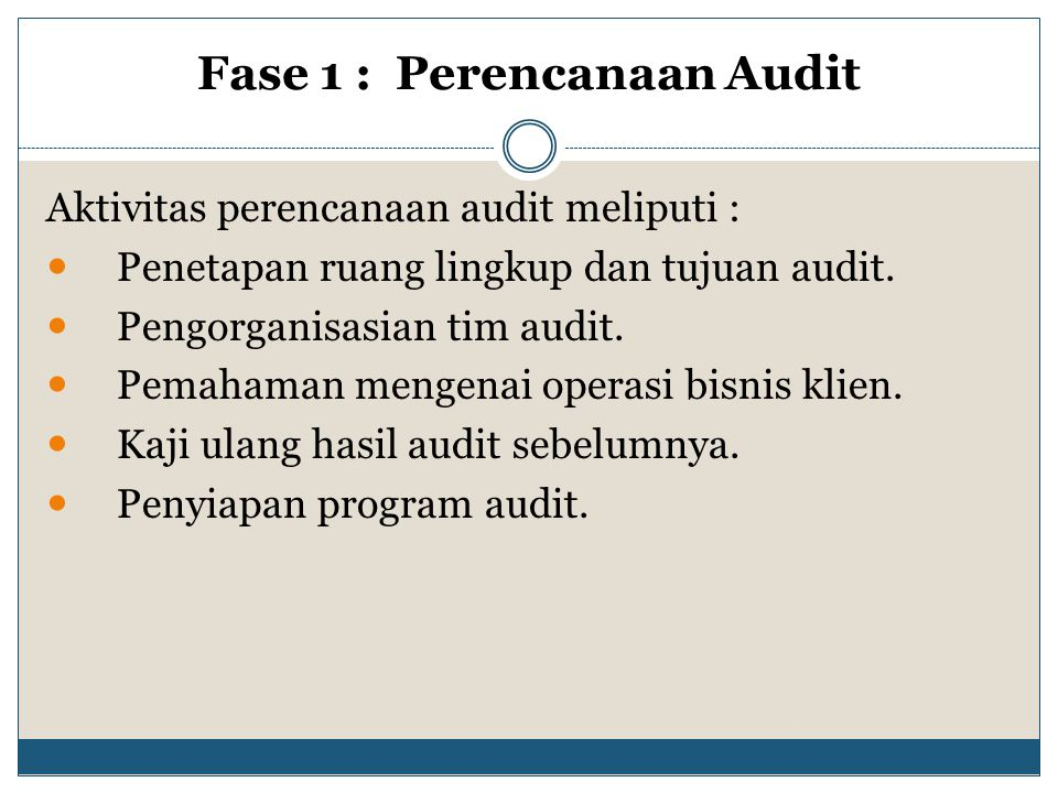 Fase 1 : Perencanaan Audit