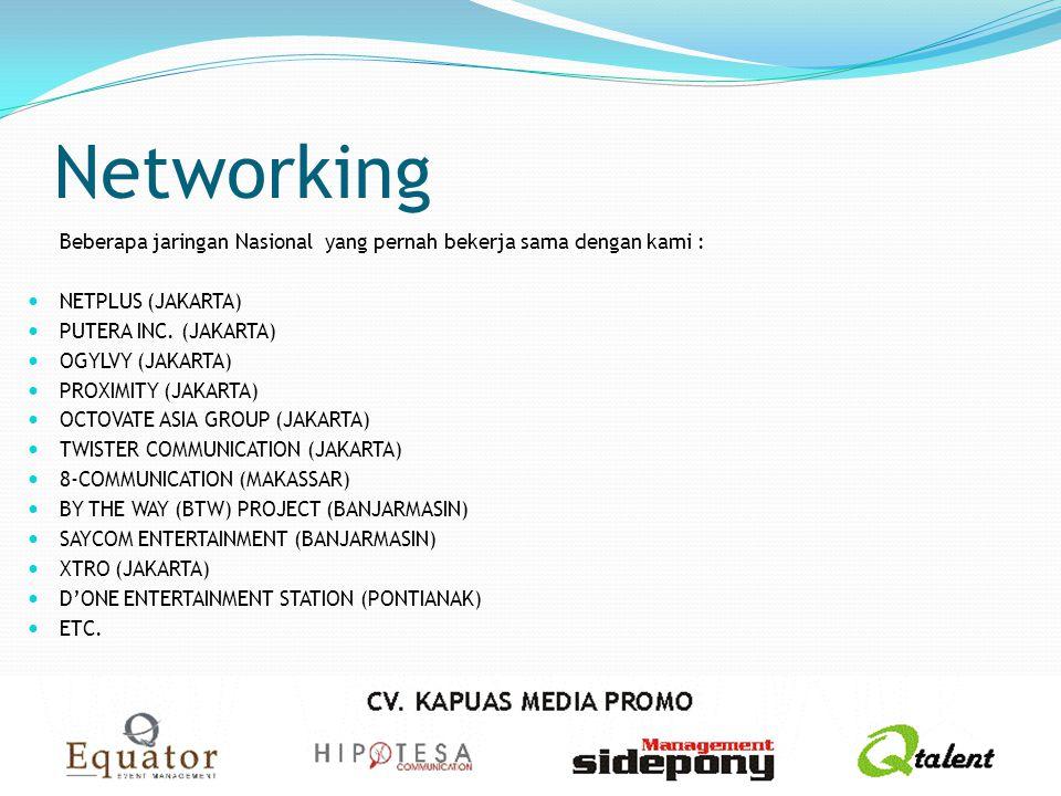 Networking Beberapa jaringan Nasional yang pernah bekerja sama dengan kami : NETPLUS (JAKARTA) PUTERA INC. (JAKARTA)