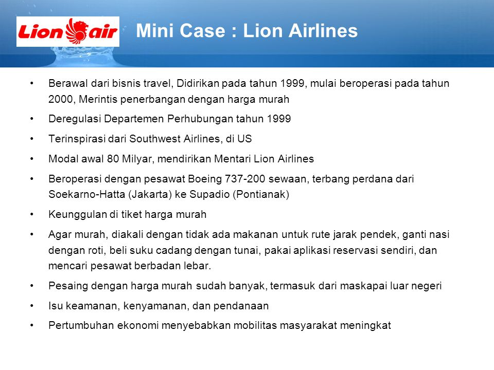 Mini Case : Lion Airlines