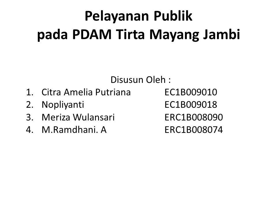 Pelayanan Publik pada PDAM Tirta Mayang Jambi