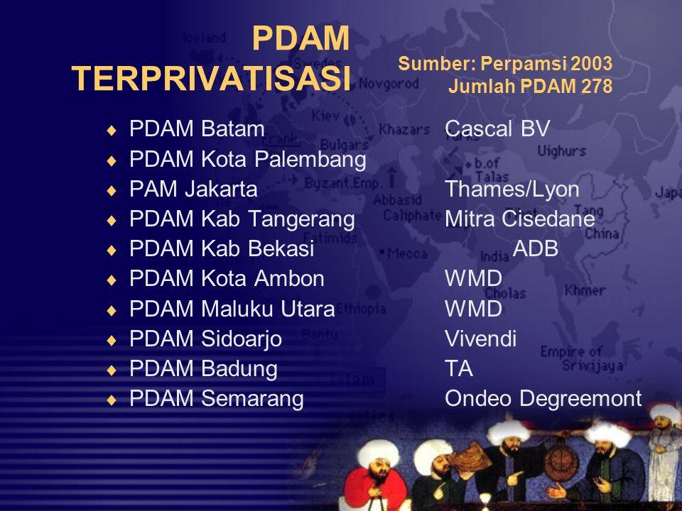 PDAM TERPRIVATISASI PDAM Batam Cascal BV PDAM Kota Palembang