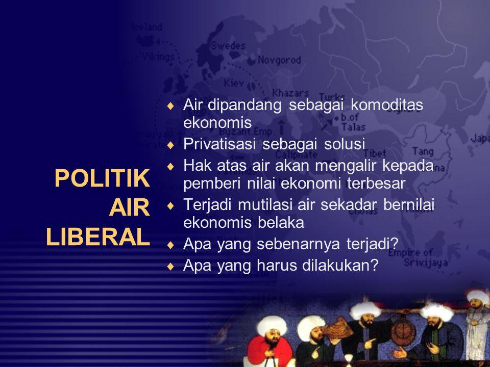 POLITIK AIR LIBERAL Air dipandang sebagai komoditas ekonomis