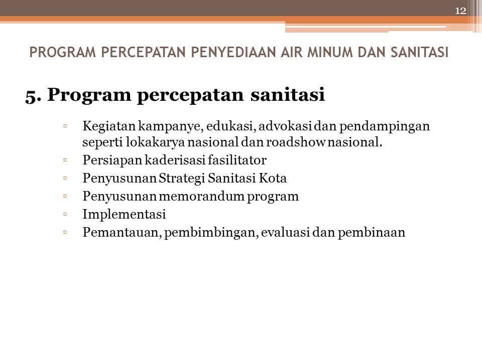 5. Program percepatan sanitasi