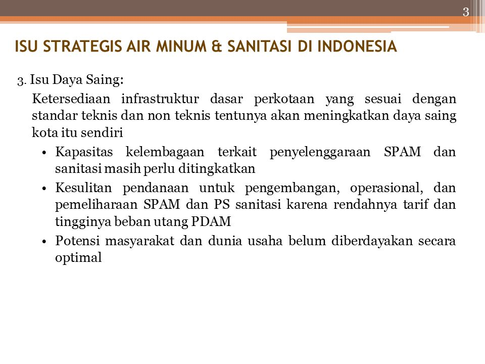 ISU STRATEGIS AIR MINUM & SANITASI DI INDONESIA
