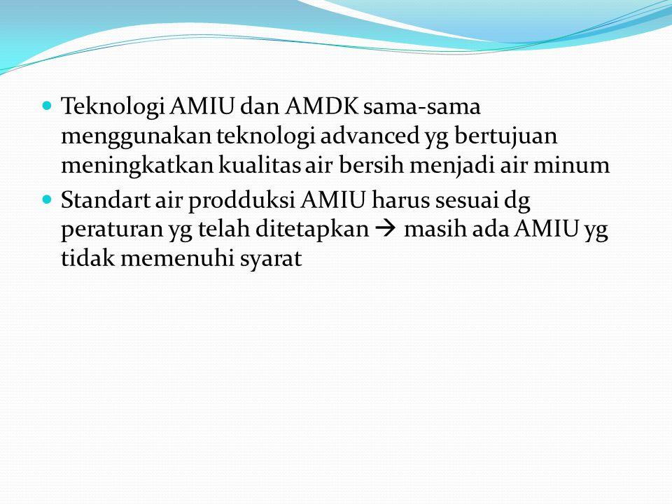Teknologi AMIU dan AMDK sama-sama menggunakan teknologi advanced yg bertujuan meningkatkan kualitas air bersih menjadi air minum