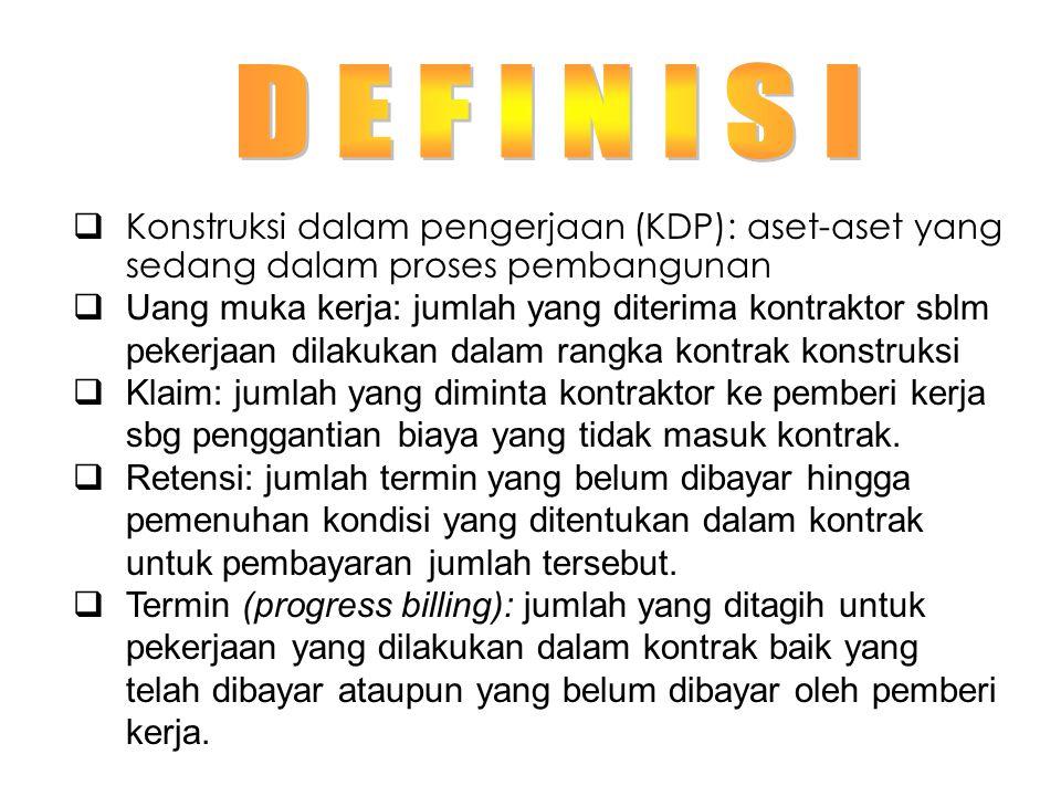 D E F I N I S I Konstruksi dalam pengerjaan (KDP): aset-aset yang sedang dalam proses pembangunan.