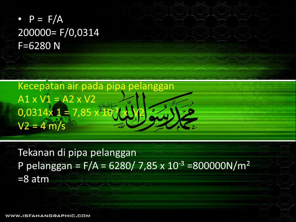 P = F/A 200000= F/0,0314. F=6280 N. Kecepatan air pada pipa pelanggan. A1 x V1 = A2 x V2. 0,0314x 1 = 7,85 x 10-3 x V2.