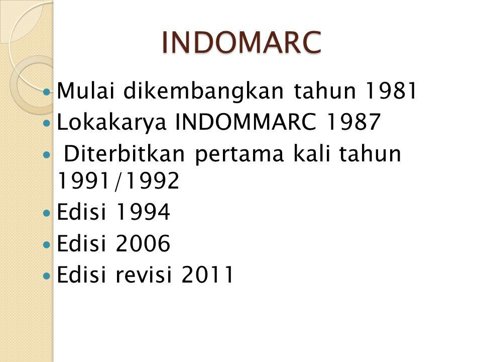 INDOMARC Mulai dikembangkan tahun 1981 Lokakarya INDOMMARC 1987