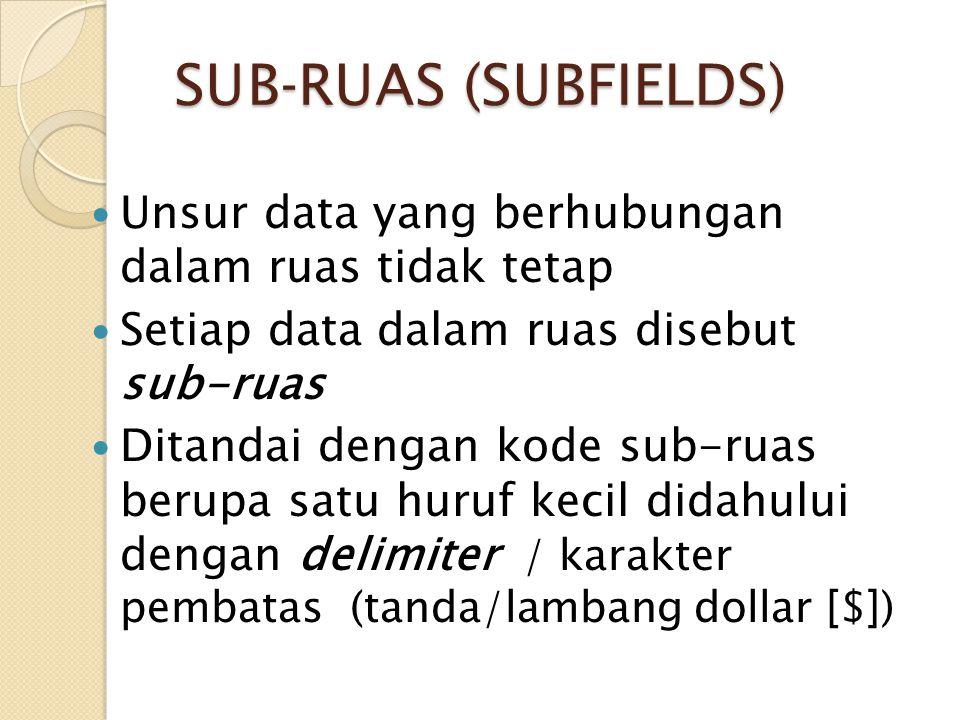 SUB-RUAS (SUBFIELDS) Unsur data yang berhubungan dalam ruas tidak tetap. Setiap data dalam ruas disebut sub-ruas.
