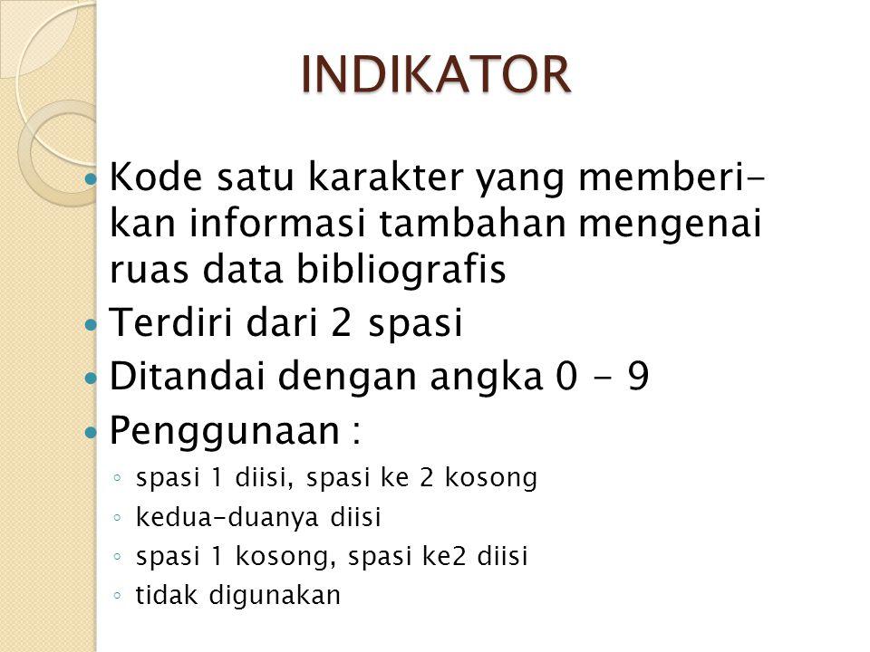 INDIKATOR Kode satu karakter yang memberi- kan informasi tambahan mengenai ruas data bibliografis.
