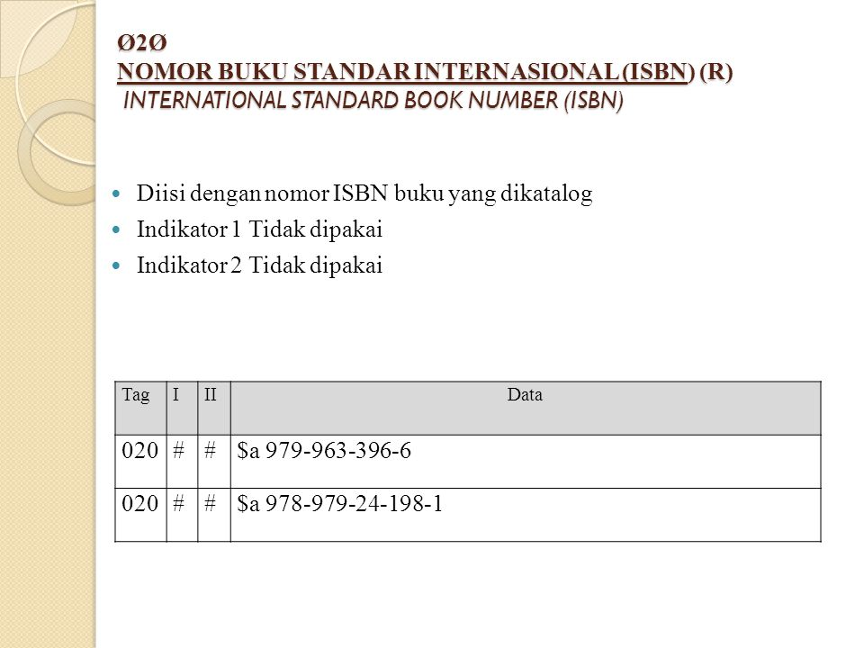 Ø2Ø NOMOR BUKU STANDAR INTERNASIONAL (ISBN) (R) INTERNATIONAL STANDARD BOOK NUMBER (ISBN)