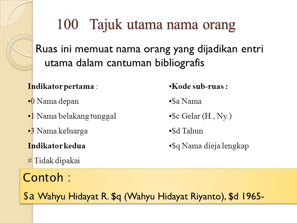100 Tajuk utama nama orang Ruas ini memuat nama orang yang dijadikan entri utama dalam cantuman bibliografis.